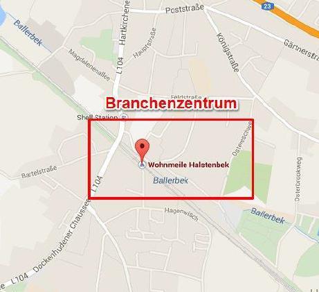 Entfernung des Standortes eines Unternehmens vom Branchenzentrum
