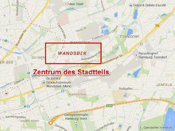 Entfernung des Standortes eines Unternehmens zum Zentrum eines Stadtteiles