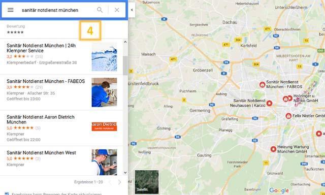 Lokale Suchergebnisse in Google Maps