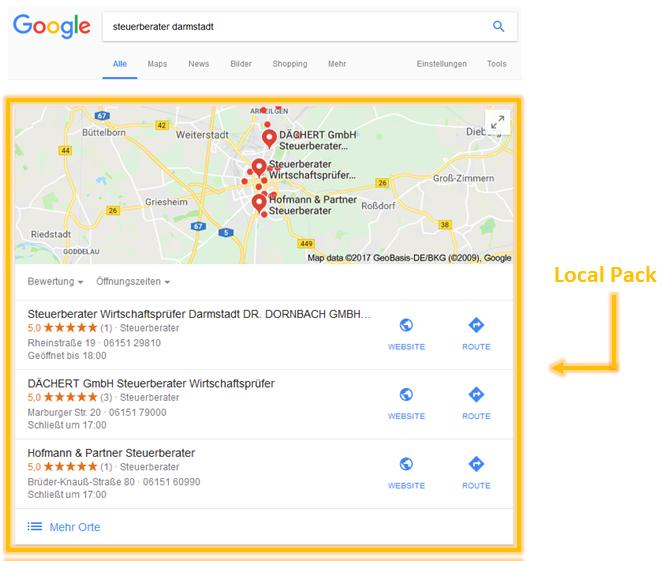 local pack google darmstadt