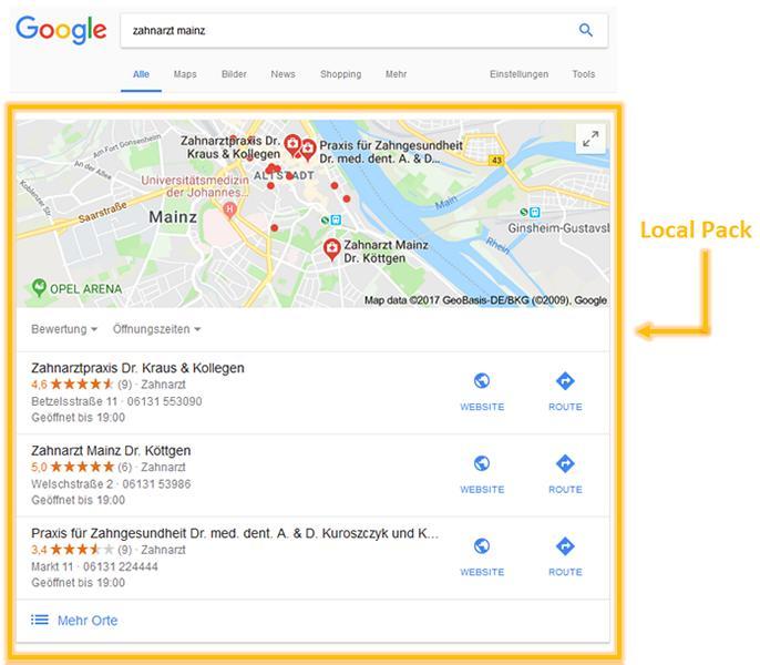 local pack google mainz